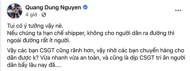 """Giang Hồng Ngọc bức xúc tột độ trước vụ Quang Dũng đề xuất CSGT làm shipper: Không chia sẻ được thì bớt ý kiến""""-2"""