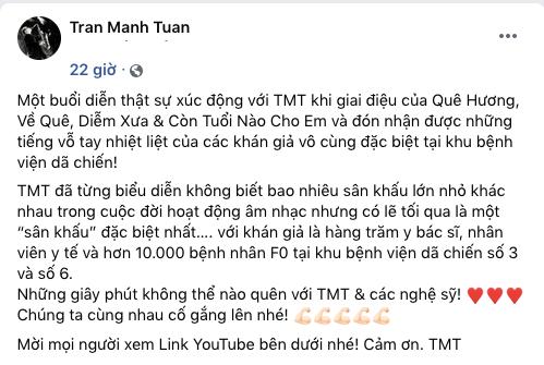 Khi âm nhạc vơi nhẹ nỗi đau: Nghệ sĩ saxophone Trần Mạnh Tuấn biểu diễn tại bệnh viện dã chiến TP.HCM khiến hàng nghìn người xúc động-3