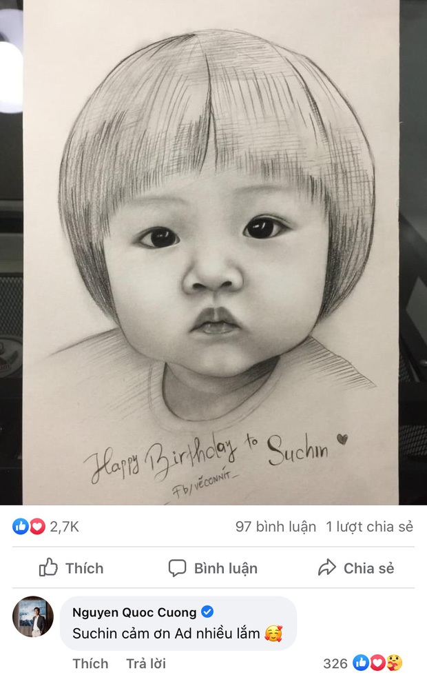Bức tranh fan vẽ tặng con gái Cường Đô La bỗng gây sốt cõi mạng, nam đại gia phải đích thân mò hẳn Facebook cảm ơn-2