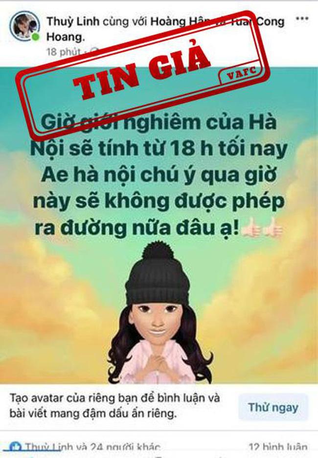 Thông tin giới nghiêm thành phố Hà Nội là tin giả-1