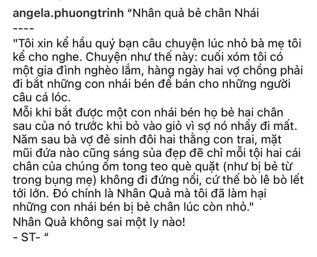 Angela Phương Trinh gây phẫn nộ vì chia sẻ chuyện phản khoa học về nguyên nhân trẻ bị khuyết tật kèm ảnh bé gái và cóc nhái-1