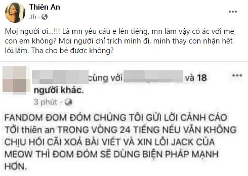 Phẫn nộ khi con gái chung với Jack bị đe dọa, Thiên An lên tiếng cầu xin-1