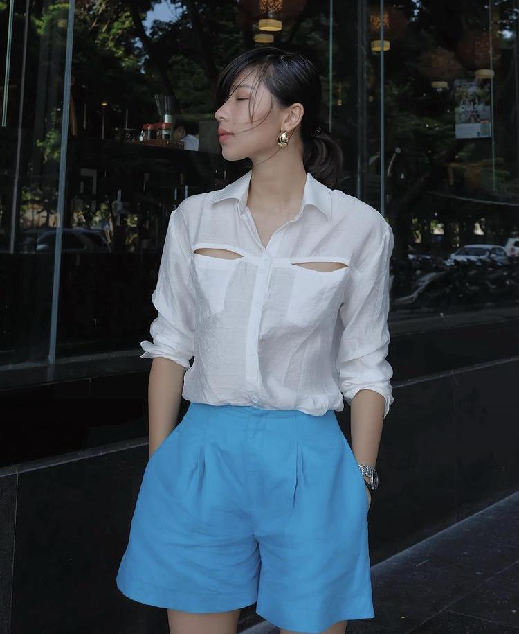 Tips mix quần short cạp cao chất như dàn fashionista Việt-10