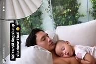 Khoảnh khắc cực dễ thương của Lisa nhà Hồ Ngọc Hà khi nằm ngủ trong lòng bố
