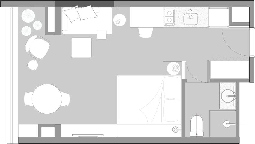 Căn hộ cho thuê nhỏ xinh nhưng vô cùng đáng yêu, thiết kế nhẹ nhàng mà tiện dụng, chỉ nhìn thôi đã muốn dọn luôn vào ở-2