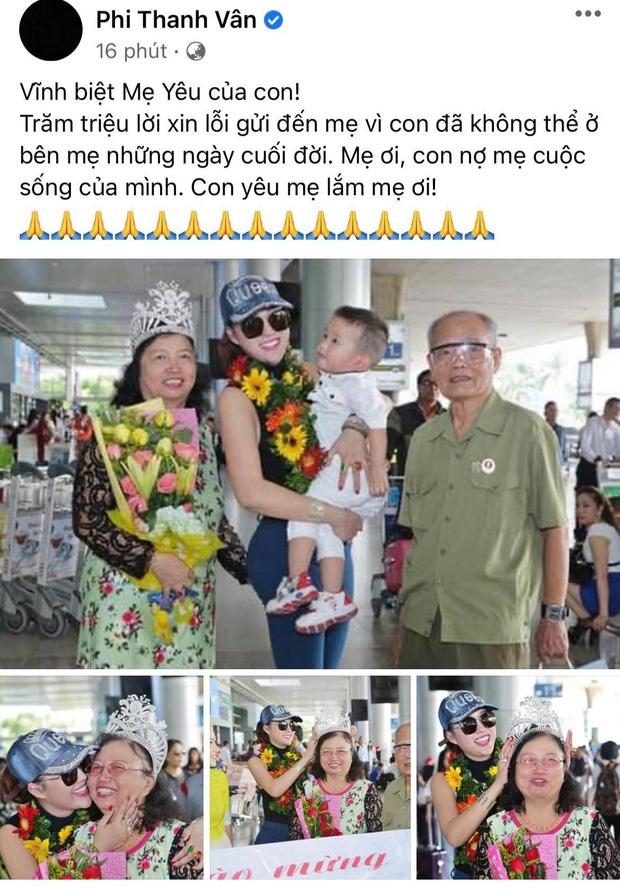 Phi Thanh Vân xót xa vì mẹ ruột qua đời nhưng không thể ở bên, Ốc Thanh Vân và dàn sao gửi lời tiễn biệt-1