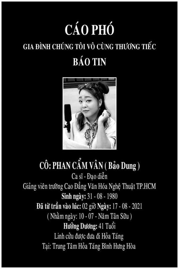 Người thân xót xa thông báo tang lễ của ca sĩ Phan Cẩm Vân, linh cữu được đưa đi hoả táng gấp giữa dịch Covid-19-2