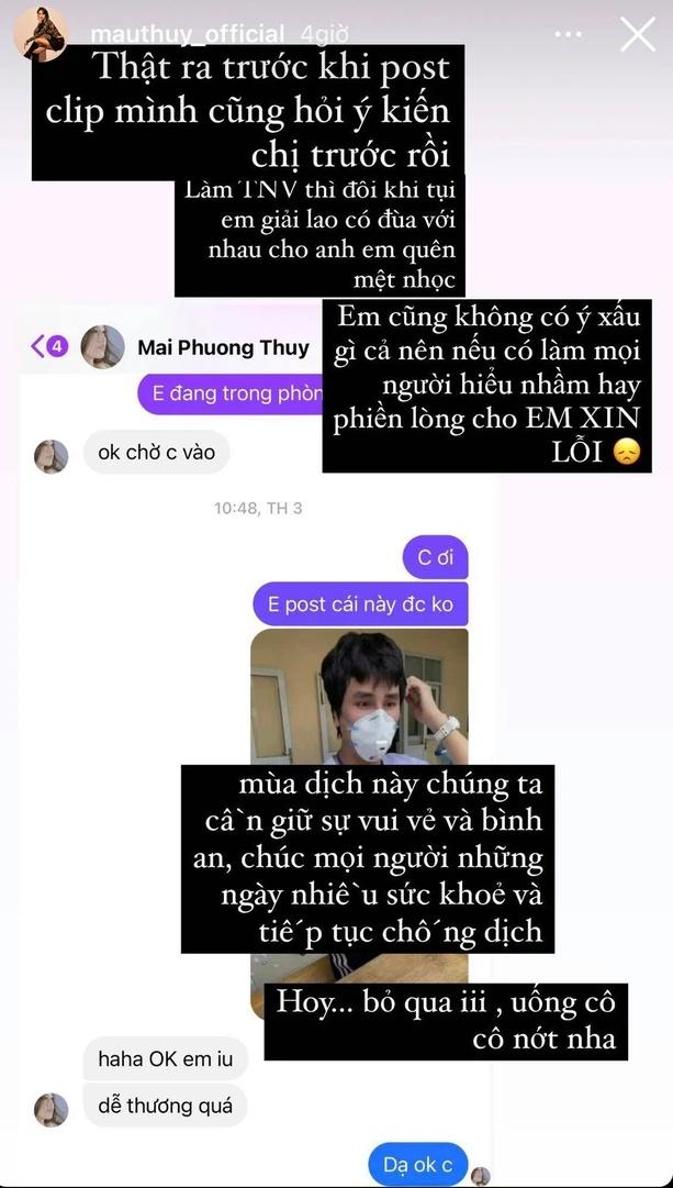 Mâu Thủy lên tiếng xin lỗi sau vụ thông báo Mai Phương Thúy dương tính, tiết lộ đã xin phép đàn chị trước khi đăng clip-1