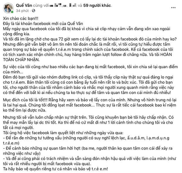 1 sao nữ Vbiz xác nhận bị khoá Facebook vì share clip nhạy cảm liên quan đến trẻ em, giải thích lý do có hợp lý?-2