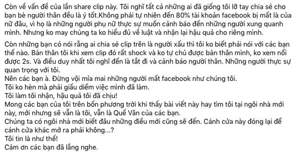 1 sao nữ Vbiz xác nhận bị khoá Facebook vì share clip nhạy cảm liên quan đến trẻ em, giải thích lý do có hợp lý?-3