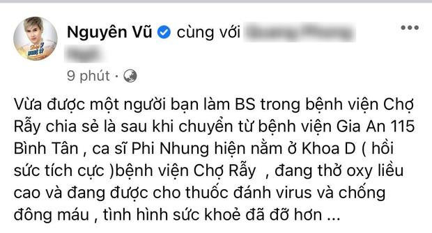 Nguyên Vũ tiết lộ thông tin mới nhất của Phi Nhung: Đang thở oxy liều cao, uống thuốc chống đông máu!-1