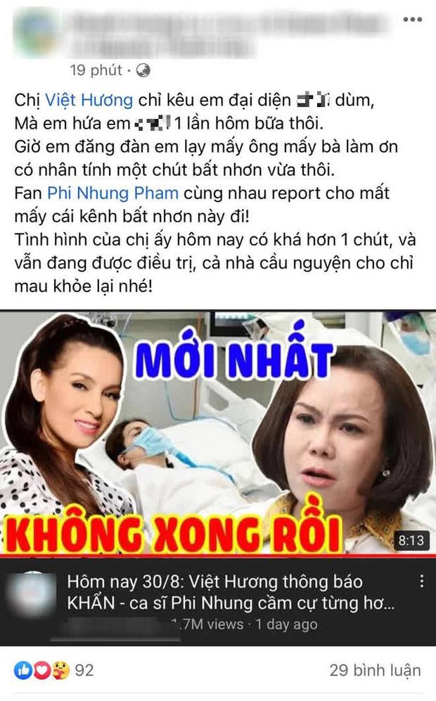 Kênh YouTube loan tin Phi Nhung đang cầm cự từng hơi thở, Việt Hương bức xúc nhờ người thân lên tiếng, tiết lộ tình trạng hiện tại-1