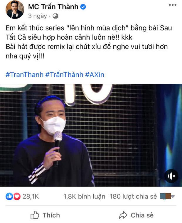 Động thái của Trấn Thành giữa lúc bị netizen tổng tấn công vì ai đó gọi tên, yêu cầu sao kê tiền quyên góp từ thiện-2