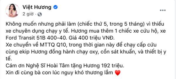 NS Việt Hương chuyển nóng 400 triệu mua xe cứu thương thứ 5 trong tháng, công khai nhận 192 triệu từ 1 nghệ sĩ Vbiz?-1