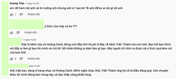 Netizen lại ùa vào đòi sao kê khi thấy Trấn Thành bình luận dưới kênh YouTube của danh ca Hoàng Oanh-4