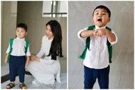 Con trai Hòa Minzy lên đồ đi học cực bảnh nhưng xem đến ảnh cuối thì ai cũng rưng rưng