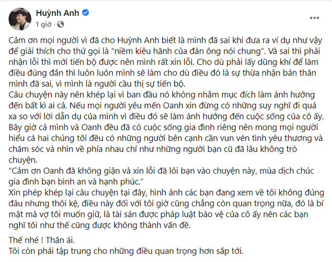Huỳnh Anh chính thức xin lỗi Hoàng Oanh vì phát ngôn gây tranh cãi-1