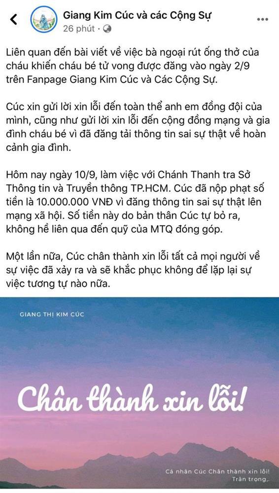 Giang Kim Cúc đăng bài xin lỗi vì thông tin sai sự thật vụ bà ngoại rút ống thở nhưng lật mặt chỉ sau 4 phút, người cần xin lỗi bị xóa thẳng tay-2