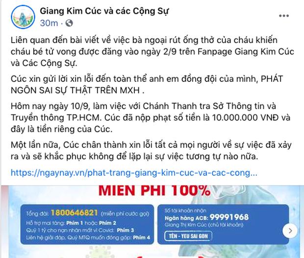 Giang Kim Cúc đăng bài xin lỗi vì thông tin sai sự thật vụ bà ngoại rút ống thở nhưng lật mặt chỉ sau 4 phút, người cần xin lỗi bị xóa thẳng tay-3