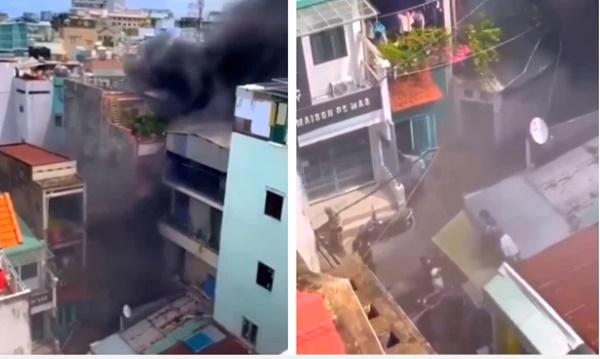 Nín thở chứng kiến cảnh người dân chạy thoát thân khỏi căn nhà 3 tầng đang bốc cháy dữ dội-1