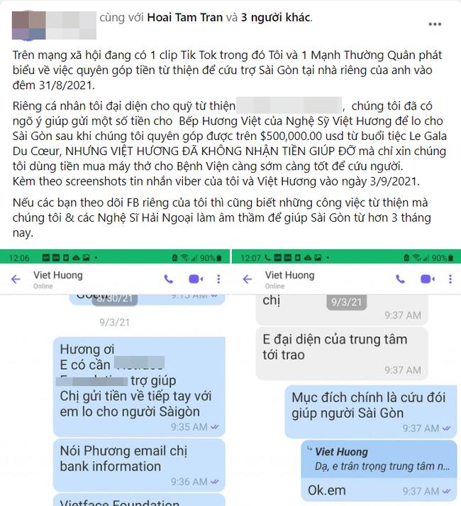 Người trong cuộc chính thức lên tiếng nói rõ thông tin Việt Hương bí mật nhận tiền quyên góp từ thiện-1