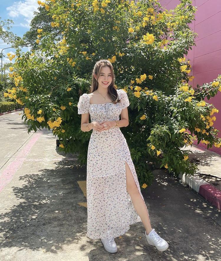 Mỹ nhân Thái Lan phối váy áo hoa đón thu không lo sến súa-5