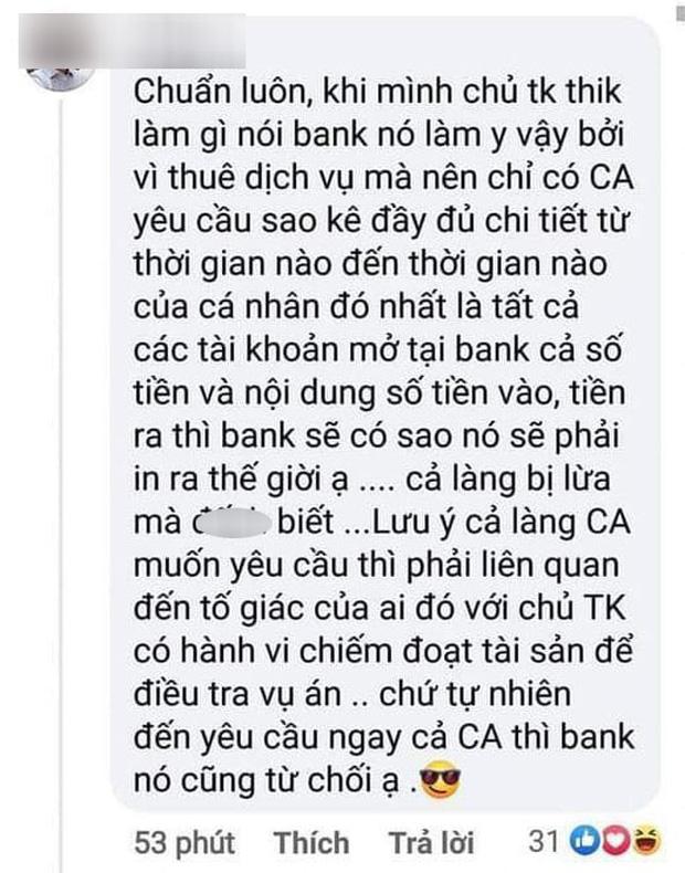 Sau bình luận về vấn đề sao kê Chủ tài khoản thích làm gì thì bank làm y vậy, Giám đốc chi nhánh 1 ngân hàng lên tiếng thanh minh-1