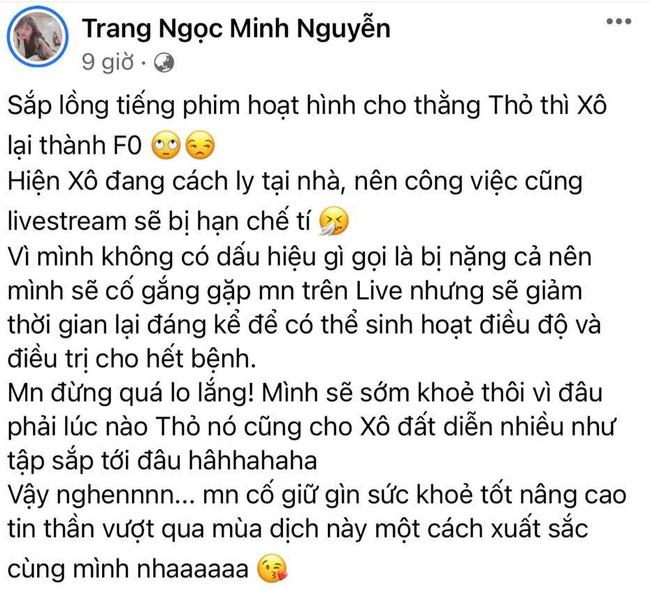 Vợ cũ Vinh Râu, Lương Minh Trang thông báo nhiễm Covid-19, tiết lộ tình trạng sức khỏe hiện giờ-1