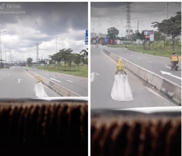 Cô gái mặc váy cưới đi bộ giữa đường, câu đùa ghẹo của tài xế phía sau khiến tất cả phẫn nộ-1