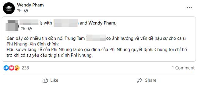 Con gái ruột Phi Nhung có chia sẻ liên quan tới tin đồn xung quanh việc tổ chức tang lễ cho mẹ-1