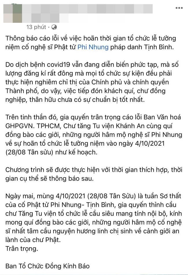 Ekip Phi Nhung bất ngờ thông báo hoãn lễ tưởng niệm cố nghệ sĩ-1