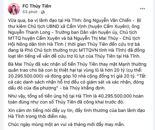 Chính quyền Hà Tĩnh xác nhận đã nhận hơn 40 tỷ đồng từ tiền Thuỷ Tiên quyên góp, so với sao kê liệu có trùng khớp?-1