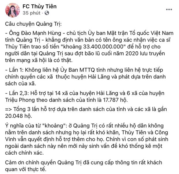 Phía Thuỷ Tiên làm rõ lý do không thống kê được chính xác số tiền từ thiện ở Quảng Trị?-2