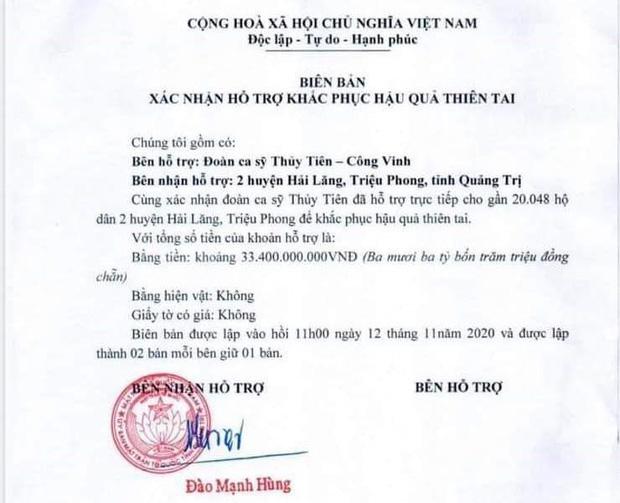 Phía Thuỷ Tiên làm rõ lý do không thống kê được chính xác số tiền từ thiện ở Quảng Trị?-1
