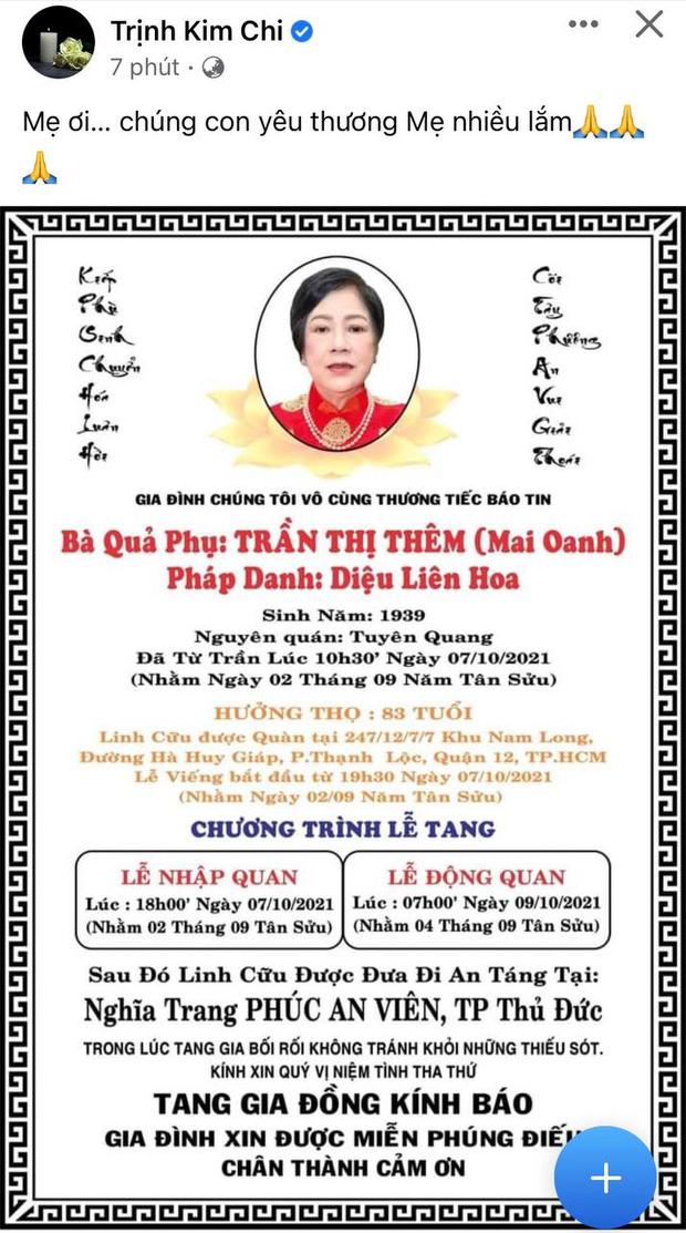 Tin buồn: Mẹ ruột Trịnh Kim Chi qua đời, NS Hồng Vân - Vy Oanh và dàn sao đồng loạt chia buồn-1