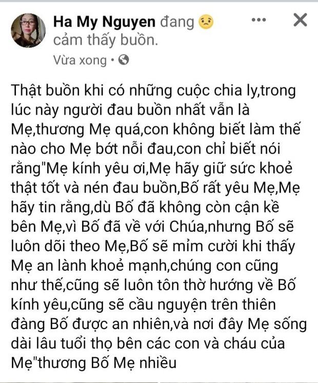 Nữ ca sĩ tự nhận là vợ NS Hoài Linh bất ngờ đăng lời tiễn biệt bố chồng-1