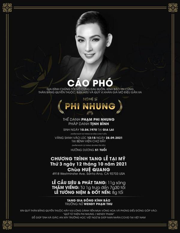 Thông tin chính thức về tang lễ và cáo phó của Phi Nhung-2