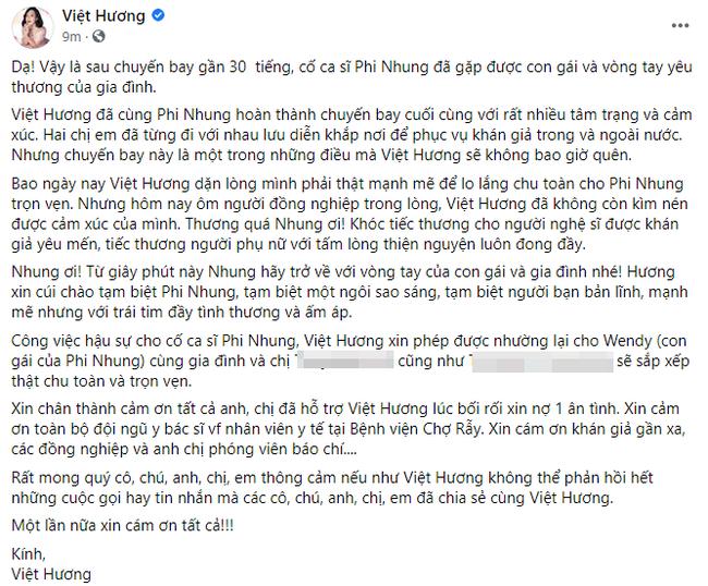 Việt Hương có chia sẻ đầu tiên sau gần 30 tiếng ôm tro cốt cố ca sĩ Phi Nhung về Mỹ-1