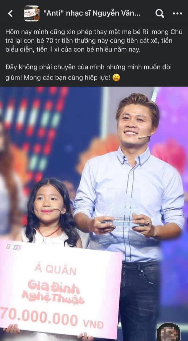 NS Nguyễn Văn Chung bị tố quỵt 70 triệu tiền thưởng và cát-xê của con gái nuôi, chính chủ bức xúc lên tiếng-1