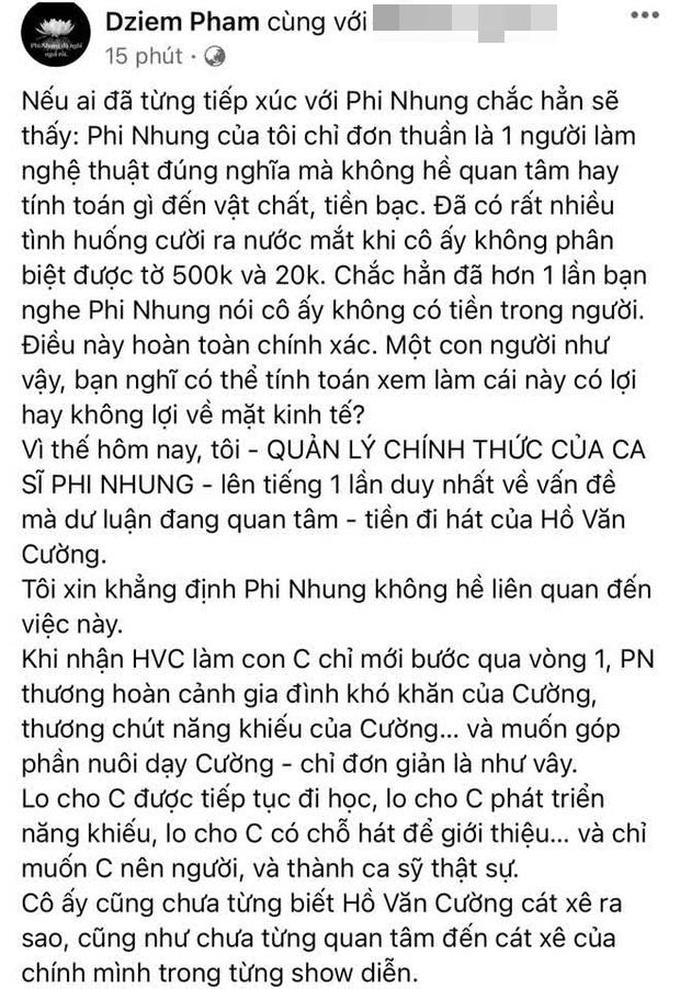 Bài tuyên bố giải quyết chuyện tiền với Hồ Văn Cường của quản lý Phi Nhung tưởng biến mất nhưng hóa ra là do nguyên nhân này-1