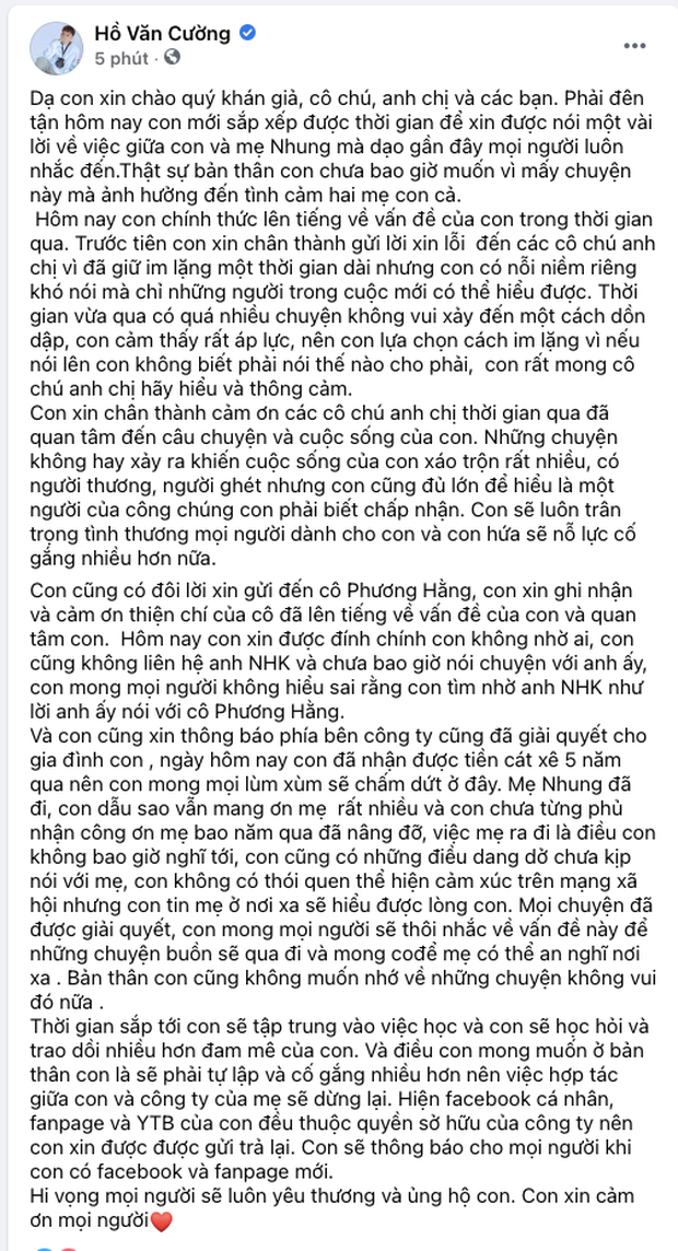 Hồ Văn Cường chính thức dừng hợp tác với công ty Phi Nhung, thông báo hoàn trả lại Fanpage và kênh YouTube-1