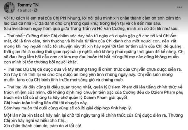 Em trai Phi Nhung lên tiếng giữa ồn ào về tiền cát xê của Hồ Văn Cường, lời nhắn cuối khiến ai cũng nghẹn lòng-3