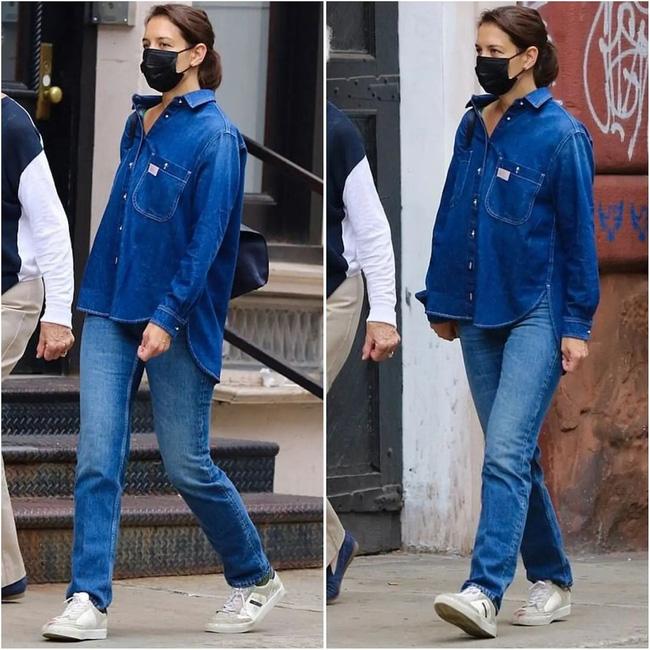 Katie Holmes đúng là nghiện quần jeans, cô có loạt cách mix chuẩn sành điệu cho nàng 30+-7