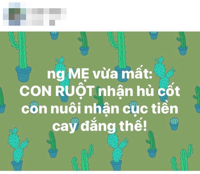 Loạt sao Việt lên tiếng bất bình trước câu chuyện con ruột nhận tro cốt của người mẹ vừa mất, con nuôi nhận tiền-1