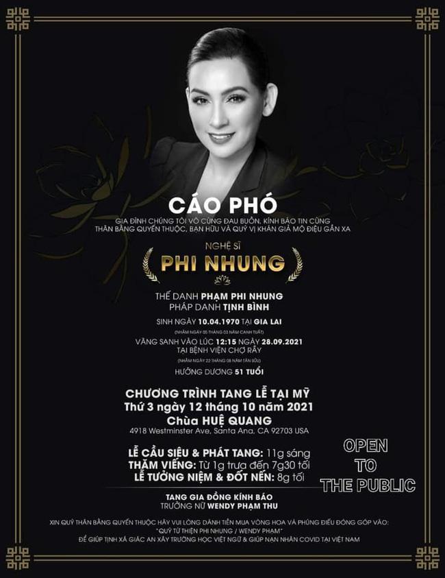 Con gái Phi Nhung chia sẻ về tang lễ của mẹ được tổ chức vào ngày mai tại Mỹ-2