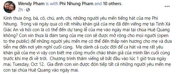 Con gái Phi Nhung chia sẻ về tang lễ của mẹ được tổ chức vào ngày mai tại Mỹ-1