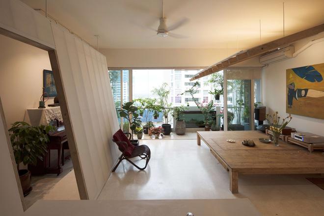 Căn hộ Quận 2 Sài Gòn làm vách nghiêng độc đáo giữa nhà, dù ở tầng 14 nhưng rộng thoáng không kém nhà mặt đất-2