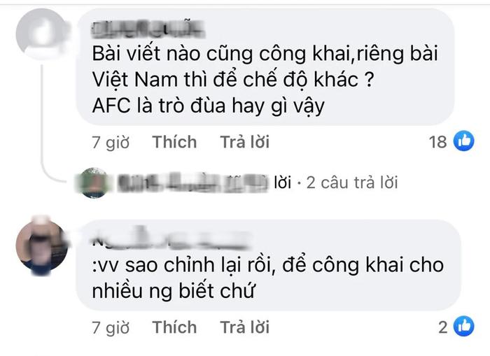 Fan Việt tấn công page của AFC, phẫn nộ vì AFC đăng bài động viên ĐT Việt Nam nhưng ở chế độ tuỳ chỉnh-4