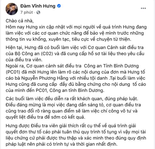 Nóng: Đàm Vĩnh Hưng xác nhận đã làm việc với cơ quan chức năng, tuyên bố cực căng về vụ kiện tụng với bà Phương Hằng!-2