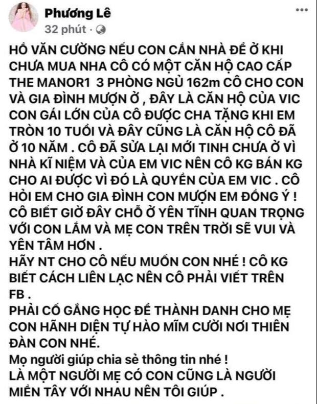 Trên trang cá nhân, Hoa hậu này ngỏ ý cho gia đình Hồ Văn Cường mượn nhà để ở nếu nam ca sĩ muốn.-1